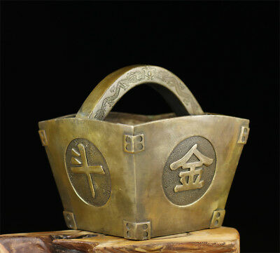 Chinese old antique brass statue hand made RiJinDouJin coin hand basket