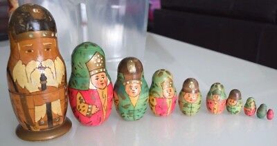 Rare Orthodox Russian Nesting Dolls Set 10 Babushka Matryoshka Hand Painted Gc