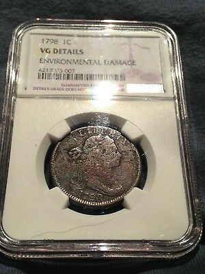 1798 / 7 Draped Bust Large Cent Ngc Vg Details Coin Over Date Variety S-152