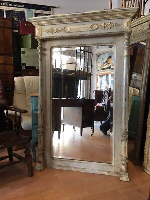 Large Antique French Painted Mirror Cream Waxed Full Length ornate FREE UK P&P