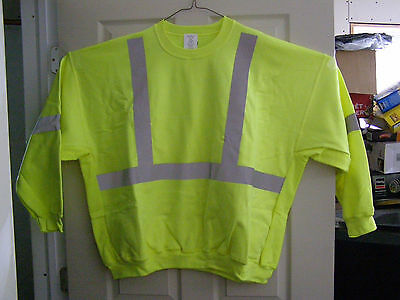Two!! Reflective Safety Hi Visability Sweat Shirts 5XL Lime Green Class2 Lev 2