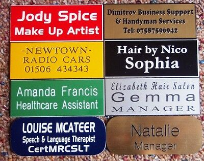 Personalised Name Badges x 1,  75mm x 30mm with pin back.