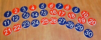 Round Keyfobs 30mm double sided numbers