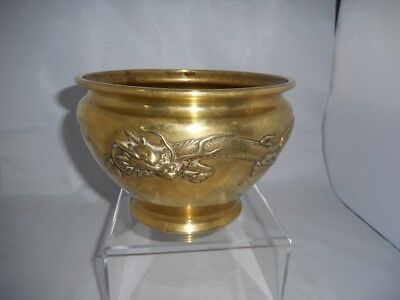 Chinese or Japanese Antique Bronze/ Brass Bowl - Jardiniere - Censer - Dragons