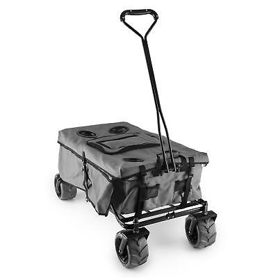 Garden Hand Cart Trolley 4 Wheels Wheelbarrow Patio Farm Outdoor Cover Grey 68Kg