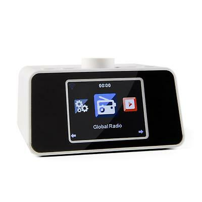 New Portable Wireless Radio Tabletop Wifi Audio Music White Alarm Clock