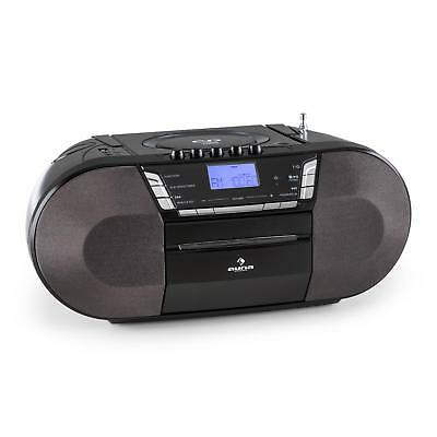 Auna Compact Stereo System Usb Cd Mp3 Player Travel Radio Cassette Music Black