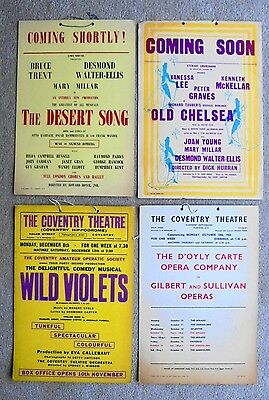 Original 1950s/60s COVENTRY THEATRE window cards x4 (15 inchess x 10 inches)