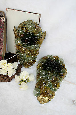 PAIR unusual Murano glass grape cluster glass wall sconces lights lamp 1960's