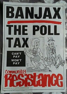 x2 Anti-Poll Tax posters - early 1990's Class War & Community Resistance