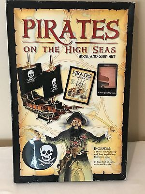 PIRATES On The High Seas Book & Wooden 3D Ship Kit / Puzzle - Sealed, NEW