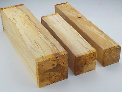 English Spalted Beech woodturning or carving spindle blanks / squares.  (HWF)