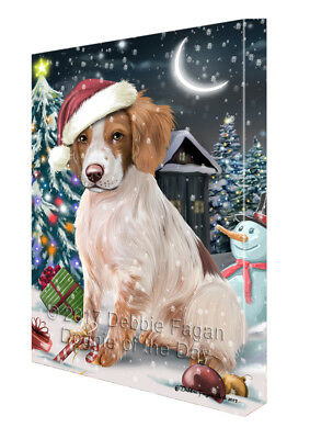 Holly Jolly Christmas Brittany Spaniel Dog in Holiday Canvas Wall Art T139