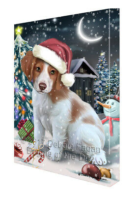 Holly Jolly Christmas Brittany Spaniel Dog in Holiday Canvas Wall Art T141
