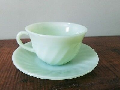 HTF rare Fire king jadeite swirl cup and saucer