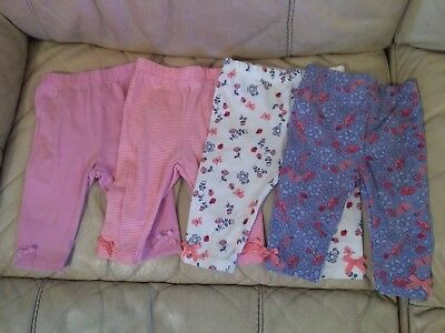 Lovely Set Of 4 Baby Girls Leggings Age 0-3 Months, Excellent Condition