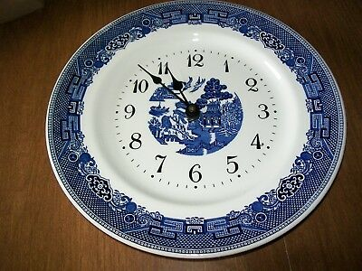 Blue Willow Clock Plate, Works Great, Used