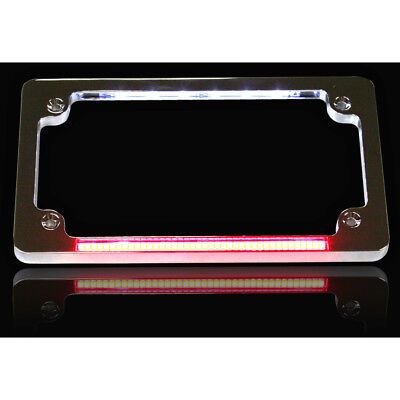 Custom Dynamics Chrome Dual LED License Plate Frame for Harley Motorcycles