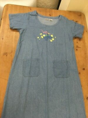 Vintage 90s Denim Embroidered Pinafore Dress Large