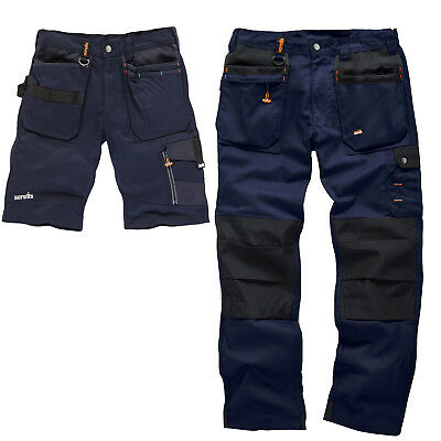 Scruffs Worker Plus Navy Work Trousers and Trade Shorts TWIN PACK Mens Cargo
