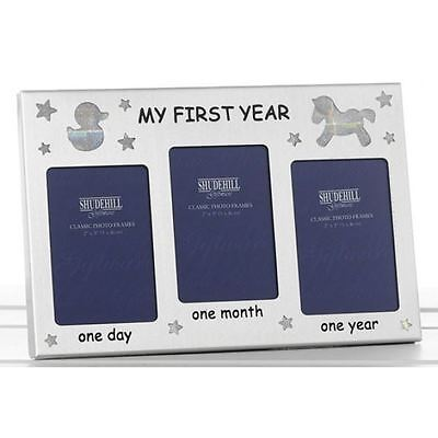 """5"""" x 2"""" Three Photo Frame My First Year Photo Frame Occasion Present 50052"""