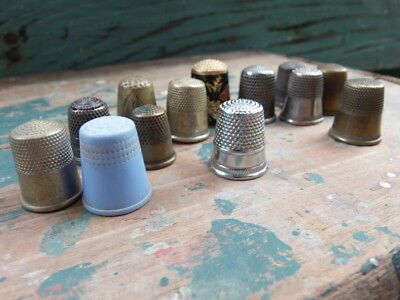 Vintage LOT 13 piece thimbles Older Sew sewing plastic house scenery engraved