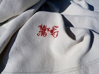 Antique French 1900 /1920s bedding pure linen cream sheet pin tuck & red cross s