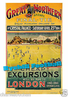 Football Art Print - 1904 FA Cup Final - Manchester City v Bolton Wanderers