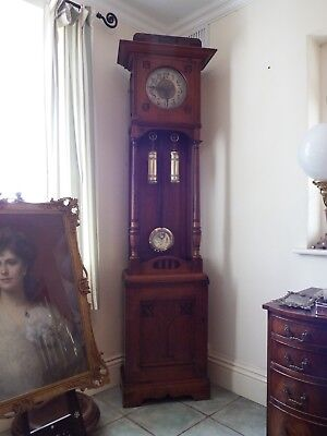 Peerless Arts And Crafts Walnut Longcased Grandfather Clock With Cupboard