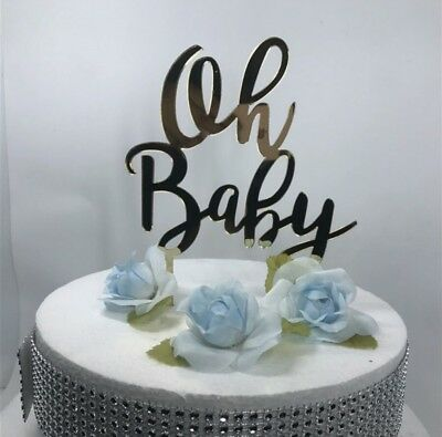 Baby Shower Oh Baby Mirror Cake Toppers | Gender Reveal Boy Or Girl Topper