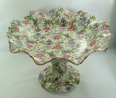 Vintage Cake footed stand / Plate, gold & floral chintz CWS Longton chintz rare