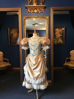 Beautiful Theatrical Victorian Style Apron Fronted Bustle Dress, Gorgeous!!!