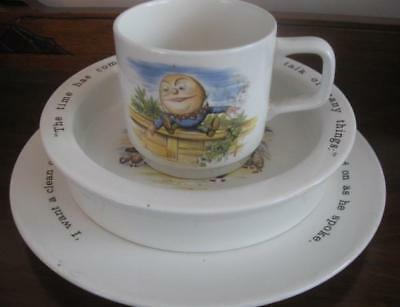3 pc. Johnson Brothers Alice In Wonderful Child's Mug, Bowl, Plate
