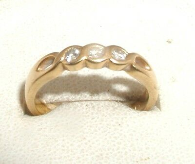"""18ct Yellow Gold & Diamond 3-Stone Ladies Ring"" Heavy 3.5g"