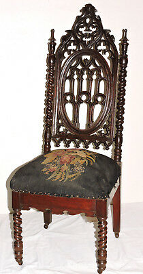 "Chair, parlor, Gothic, Elizabethan, walnut, Boston, NYC, poss Meeks, 45"", c1850"