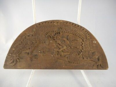 Chinese Antique Small Oval Wooden Panel with Carved Dragon Decoration on it