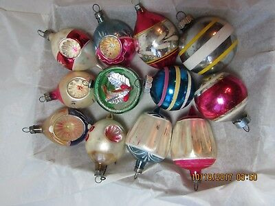 Vintage Christmas  Tree Decorations W Box Coby Shiny Brights Indent Teardrop oth