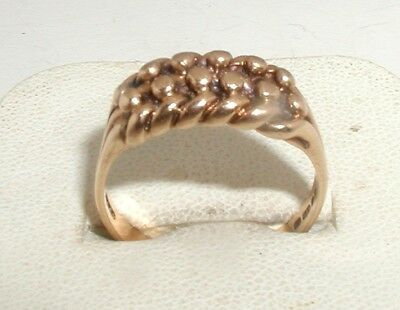 """""""9ct Gold 2-Row Keeper Ring"""" Heavy 4.4g"""