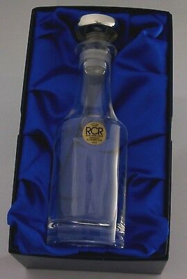 Boxed Stylish Crystal And Sterling Silver Noggin Whisky Bottle 2006 Barware