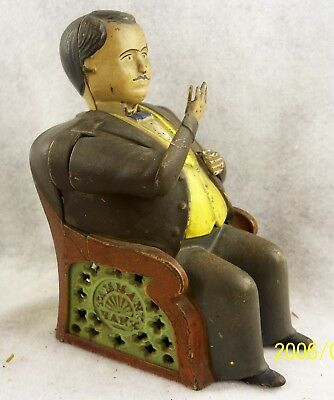 Genuine Antique Cast Iron TAMMANY Mechanical Bank with Patent Date - Great Cond