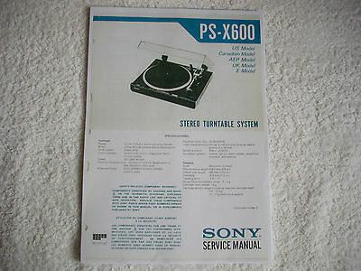 PS-X600 Stereo Turntable System.Service Manual.