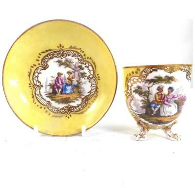 Antique 19Th Century Meissen Porcelain Cup & Saucer Outside Decorated