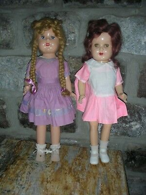 """NR 2 Vintage All Composition Jointed Dolls Mohair Wig Tin Sleep Eyes 18"""" Compo"""