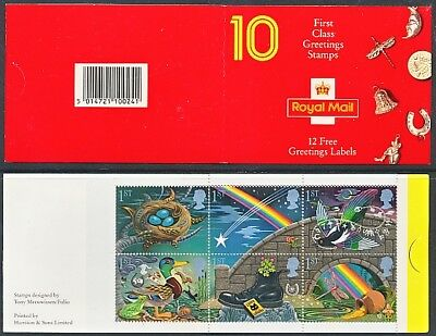 1991 SG KX2 10 X 1st CLASS GREETINGS STAMPS BOOKLET
