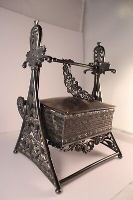Antique Mechanical Jewelry Casket Box Silver-Plated Rogers & Bro 1878