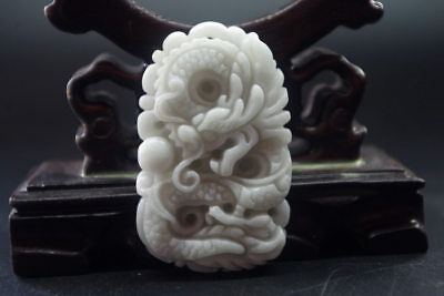 Exquisite Chinese natural white jade hand-carved zodiac dragon jade pendant