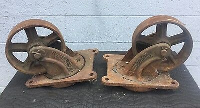 "Antique Pair Of LARGE Industrial 10"" Wheel Casters Thomas Truck Keokuk Iowa"