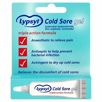 Lypsyl Cold Sore Gel Cream - Triple Action - Relieve, Prevent And Dry Coldsores