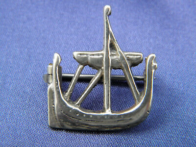 Beautiful Stamped Silver Viking Longboat Ship Brooch