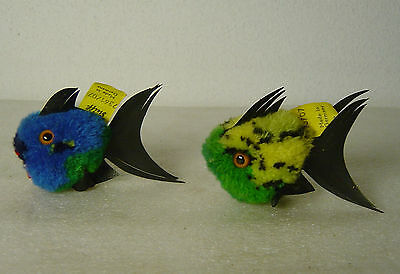 2 cute vtg 50s/60s Steiff woolie Coral fish with button and tag